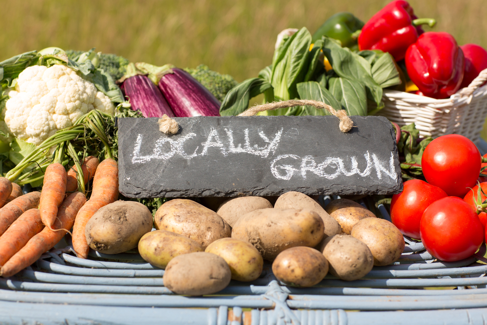 Organic vegetables on a stand at a farmers market with a sign reading locally grown