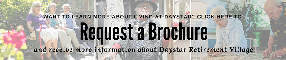 Our residents love living at Daystar. Request an informational brochure to learn more about life at Daystar.