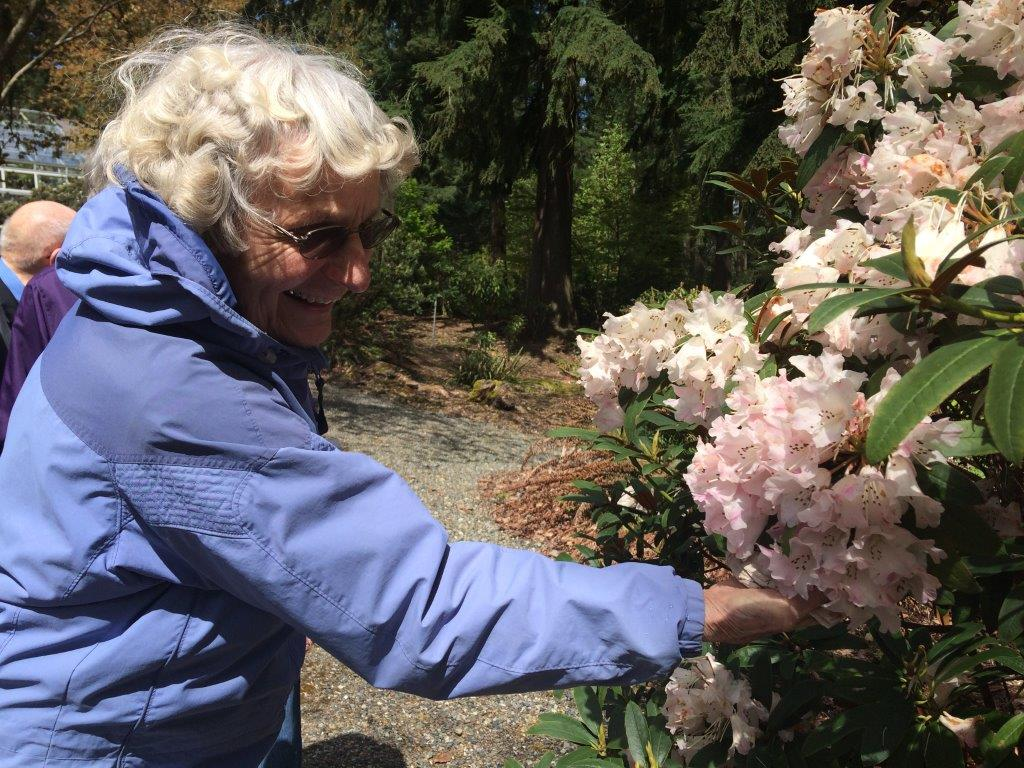 Enjoying the flowers bloom along the walking trails on site at Daystar Retirement Village
